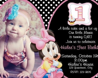 Baby MINNIE MOUSE Invitation, First Birthday Minnie Invitation, 1st Baby Minnie Invitation, 1st Birthday, Polka Dot, Minnie Mouse