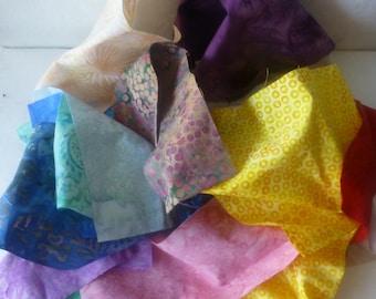 Batik Cotton Fabric Scraps, Batik Fabric Pieces, Fabric Scraps, Remnants,  Scrap Bag, Fast Shipping,MB131