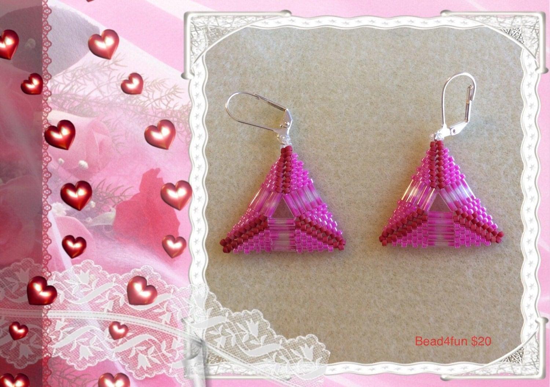 pink triangle beaded earrings pretty in pink