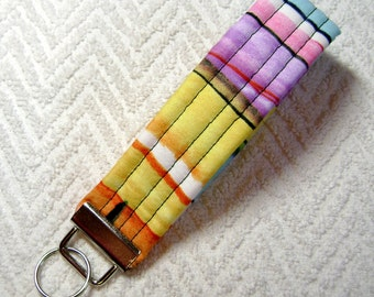Paint Stripes, Multi-Colored, Painted Keychain, Brushstrokes Fabric, Fabric, Key Fob, Fabric Keychain, Keychain, OOAK KF-90