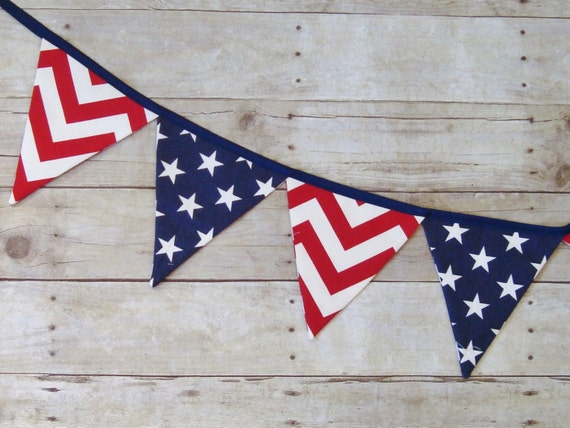 Fabric banner - red, white and blue - USA bunting - American banner - flag banner - flag bunting - patriotic decor - Americana decor