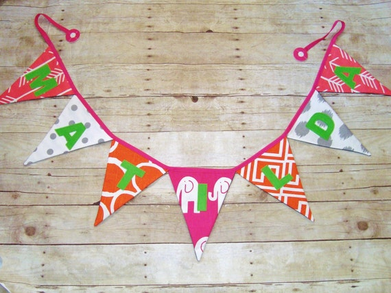 Coral Banner / Custom Name Banner / Fabric Bunting / Personalized Banner / Wall Hanging / Name Sign / Banner with Words / Summer Colors