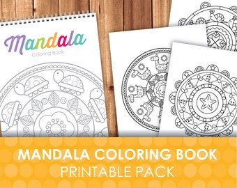 Printable Coloring Pages / Mandalas for Kids / Animal Mandala / Coloring Party Favor