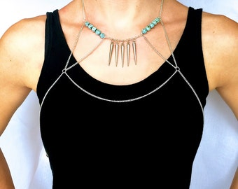 Silver Spikes and Turquoise Bead Wrap Body Chain Choker Necklace -- One of a kind!