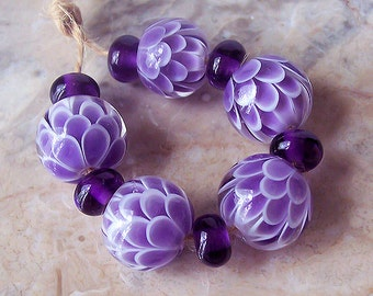 Violet Chrysanthemum Handmade Lampwork Bead Set. Lotus Lampwork Bead Set. Made to order.