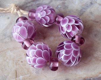 Pink Chrysanthemum Handmade Lampwork Bead Set. Pink Lotus Lampwork. Flower Blossom lampwork Beads. Flower Petals Glass Beads. Made to order.