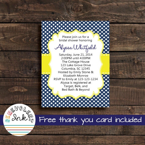 Bridal shower invitation navy blue and yellow by benevolentink