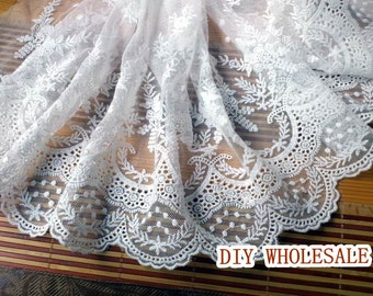 1 yard bridal lace fabric, embroidered lace, wedding lace fabric, vintage embroidered lace