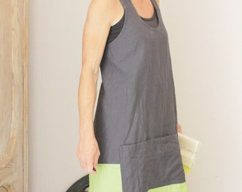 Linen apron in Ardoise and Springgreen, Cross back, Pinafore apron, Natural linen, Eco friendly