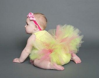 Tutu- Newborn tutu- photo prop- Newborn Baby tutu- First birthday tutu- Hospital Gift- Pink and Yellow tutu-Cake smash tutu-Baby shower gift