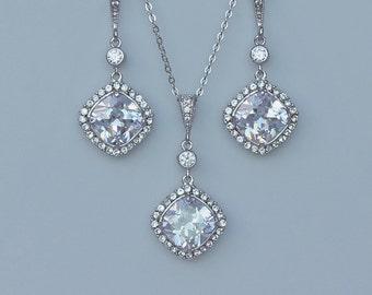 Crystal Jewelry Set, Square Crystal Bridal Set, Crystal Necklace & Earrings Set, Wedding Jewelry Set, HALO