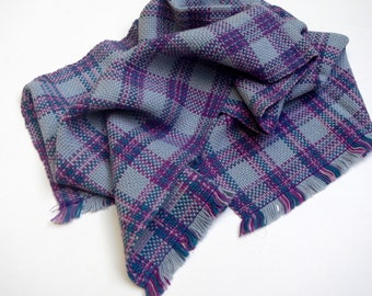 Handwoven plaid kitchen towel-grey, purple, pink, and green
