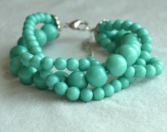 turquoise pearl Bracelet, Glass Pearl Bracelet,Triple turquoise bead Bracelet,Wedding Bracelet,Bridesmaid Bracelet,,Maid of honor jewelry