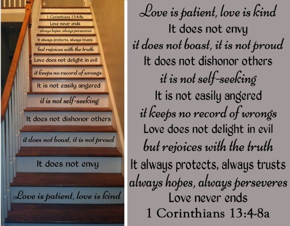 Connu Lamour est Patient 1 Corinthiens Bible verset Stickers pour IV81