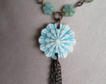 turquoise necklace, aqua necklace, blue necklace, tassel necklace, unique necklace, summer necklace, turquoise jewelry, special occasion
