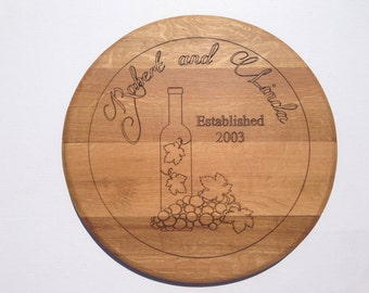 Custom Wine Barrel top Wall Hanging - Bottle and Grapes