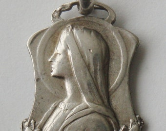 Antique Religious Solid Silver Medal Virgin Mary