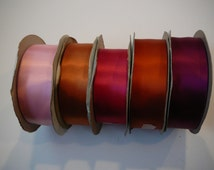"""5 partial spools of 1.5""""  double face satin  ribbon"""