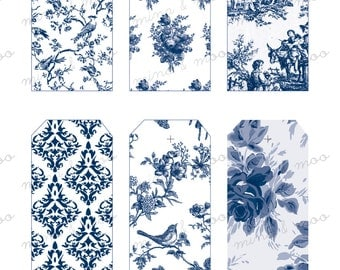 Blue and White Toile de jouy - Gift Tags - Printable gift tags - printables - french pattern - classic toile pattern  luggage tags - tags