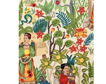 Upholstery Weight Heavy Oxford Frida's Garden 100% Cotton Fabric, Natural background by Alexander Henry