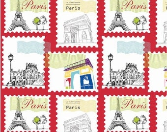 "Riley Blake Designs ""Pepe in Paris"" by The RBD Designers. 100% cotton, pattern C3792 Red - Stamp"