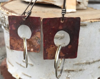 Copper Dangle Square Earrings with Sterling Silver and Brass Hoops