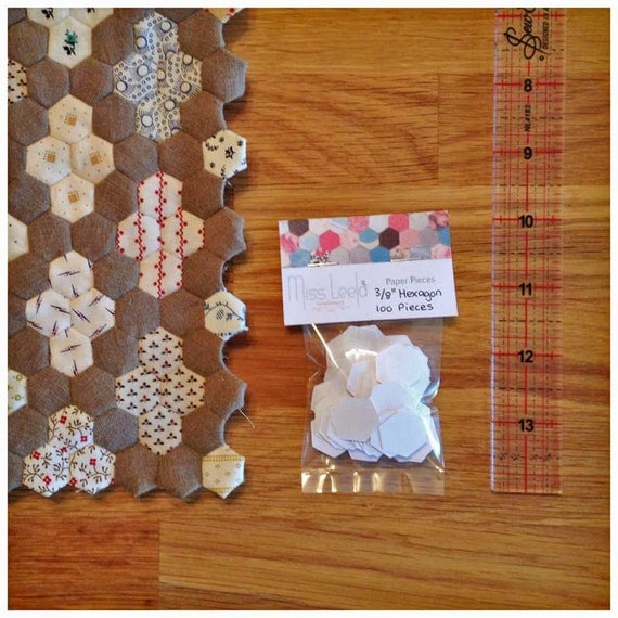 "100 Three Eighth's (3/8th"") Inch Hexagon Paper Pieces - English Paper Piecing - Patchwork Quilting"