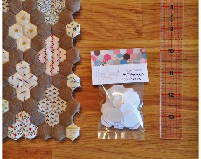 """100 Three Eighth's (3/8th"""") Inch Hexagon Paper Pieces - English Paper Piecing - Patchwork Quilting"""