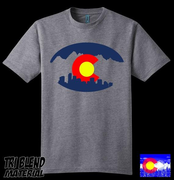 Colorado pride T shirt - Denver City, Mountains, Flag - Tri Blend, Home, State, Roots