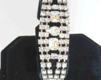 Vintage Crystal Clear Rhinestone Bracelet