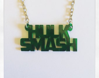 Marvel Avengers Inspired Hulk Smash Acrylic Necklace