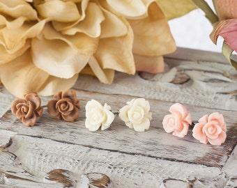 Rose Earrings Iris Rose Post Earrings Flower Earrings Mocha Brown Earrings Ivory Earrings Pastel Peach Earrings Three Pair Bridesmaid Gift
