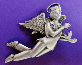 JJ Jonette Pewter Nurse Angel Brooch Pin
