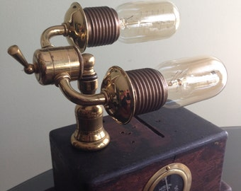 Handmade one of a kind steampunk wood and brass recycled lamp with built in dimmer