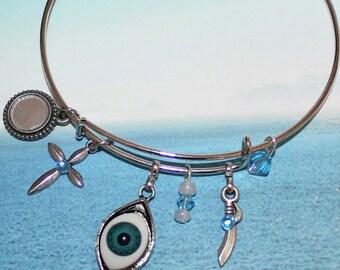 Evil Eye Protection Modern Adjustable bangle Bracelet