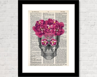 Anatomical Skull with Floral Crown and Eyes - Gothic - Steampunk - Day of The Dead inspired- Wall Decor Print  - Dictionary Page Art