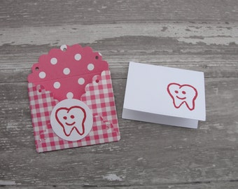 Tooth Fairy Envelopes ~ Mini Envelopes with Cards ~ Pink Envelopes ~Great for Tooth Fairy Notes ~ Scallop Mini Envelopes