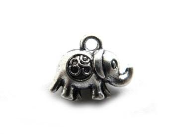 6 Silver Om Elephant Charms - 3D Charm