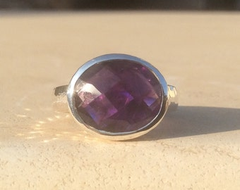 Gemstone Ring, Amethyst Hammered Silver Ring, OOAK Ring, Gemstone Silver Ring, Oval Stone Amethyst Gemstone Ring, Gift for Her