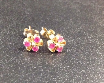 9ct gold ruby stud earrings