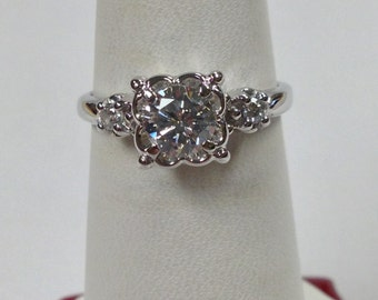Genuine Diamond  Engagement Ring With 14KT White Gold