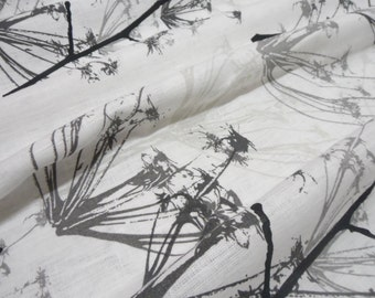 Long Natural Linen Tablecloth 54x80  White and Black Linen Table cloth. Kitchen Linen