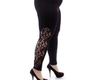Womens Plus Size 1X-2X-3X-4X-5X-6X Leggings BlackElastic Elegant Lace Panel Made in USA