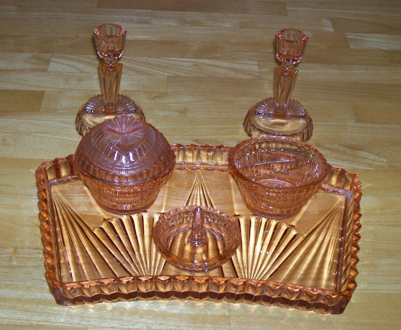Vintage Glass Dresser Set Art Deco Pink Salmon Collectible