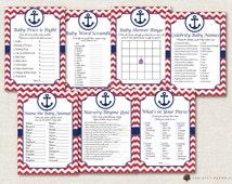 Nautical Baby Shower Games - Nautical Shower Games, Beach Baby Shower Games, Sailor Baby Shower Games, Anchor Baby Shower, Beach Baby Games