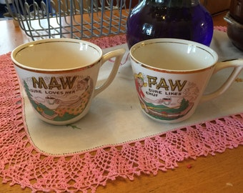 Vintage Maw and Paw Coffee Mugs Set of 2 USA