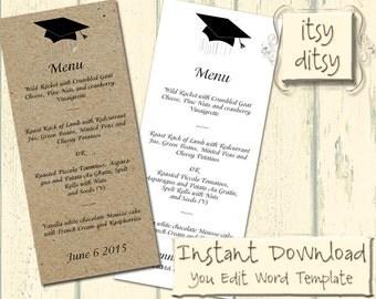 "Graduation menu with a Mortarboard design - download, edit & print yourself at home - Printable menus Word Instant Download Tea 4x9.25"""