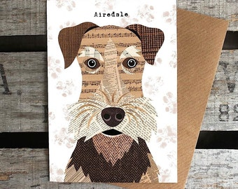 Airedale dog greetings card