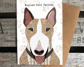 English Bull Terrier dog greetings card