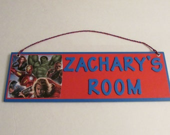 Avengers Personalized Room Name Sign - Avengers Room Decor - Avengers Customized Name Sign - Avengers Wall Plaque